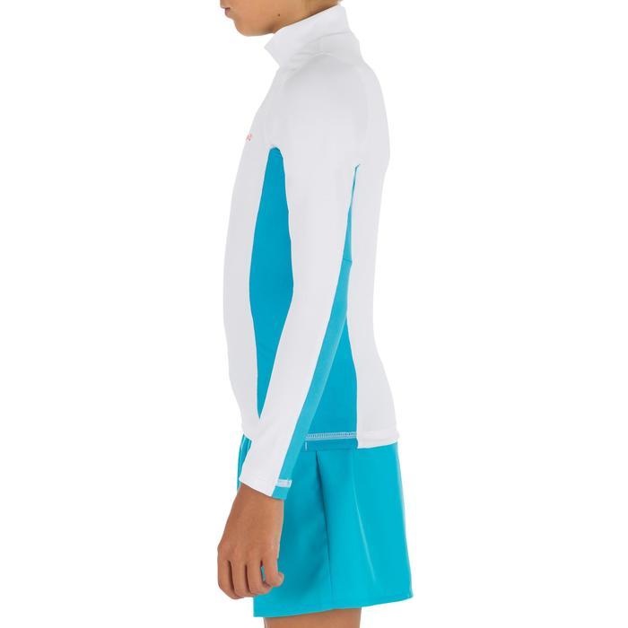 Uv-werende rashguard 500 met lange mouwen voor kinderen wit blauw - 1297017