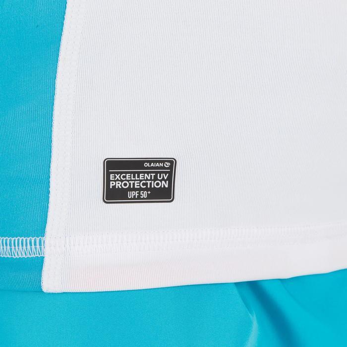 Uv-werende rashguard 500 met lange mouwen voor kinderen wit blauw - 1297018