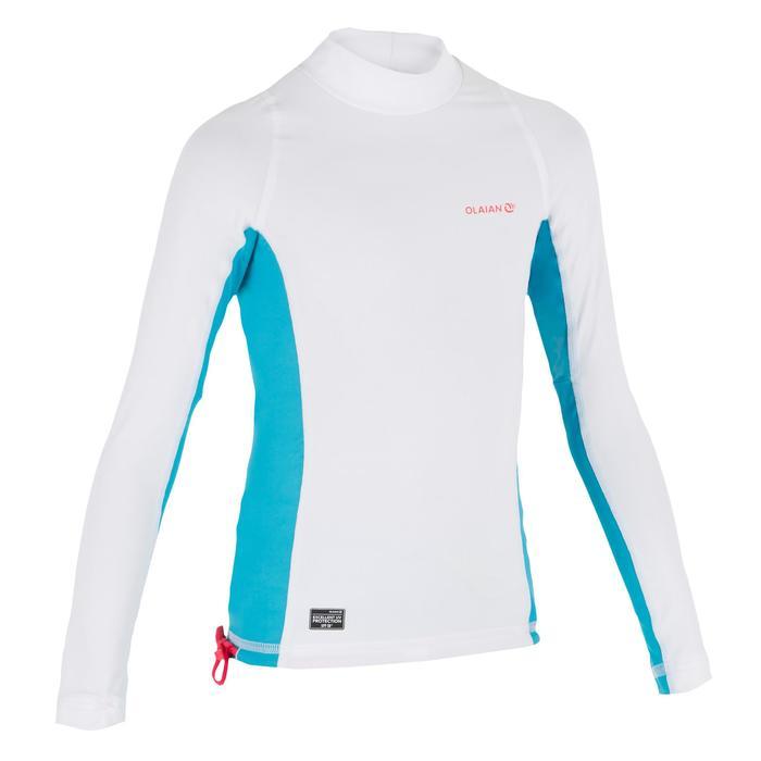 Camiseta anti-UV surf top 500 manga larga júnior blanco azul