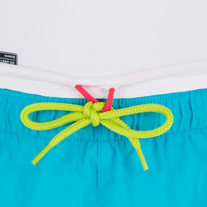 uv-werende rashguard 500 met lange mouwen voor kinderen wit blauw