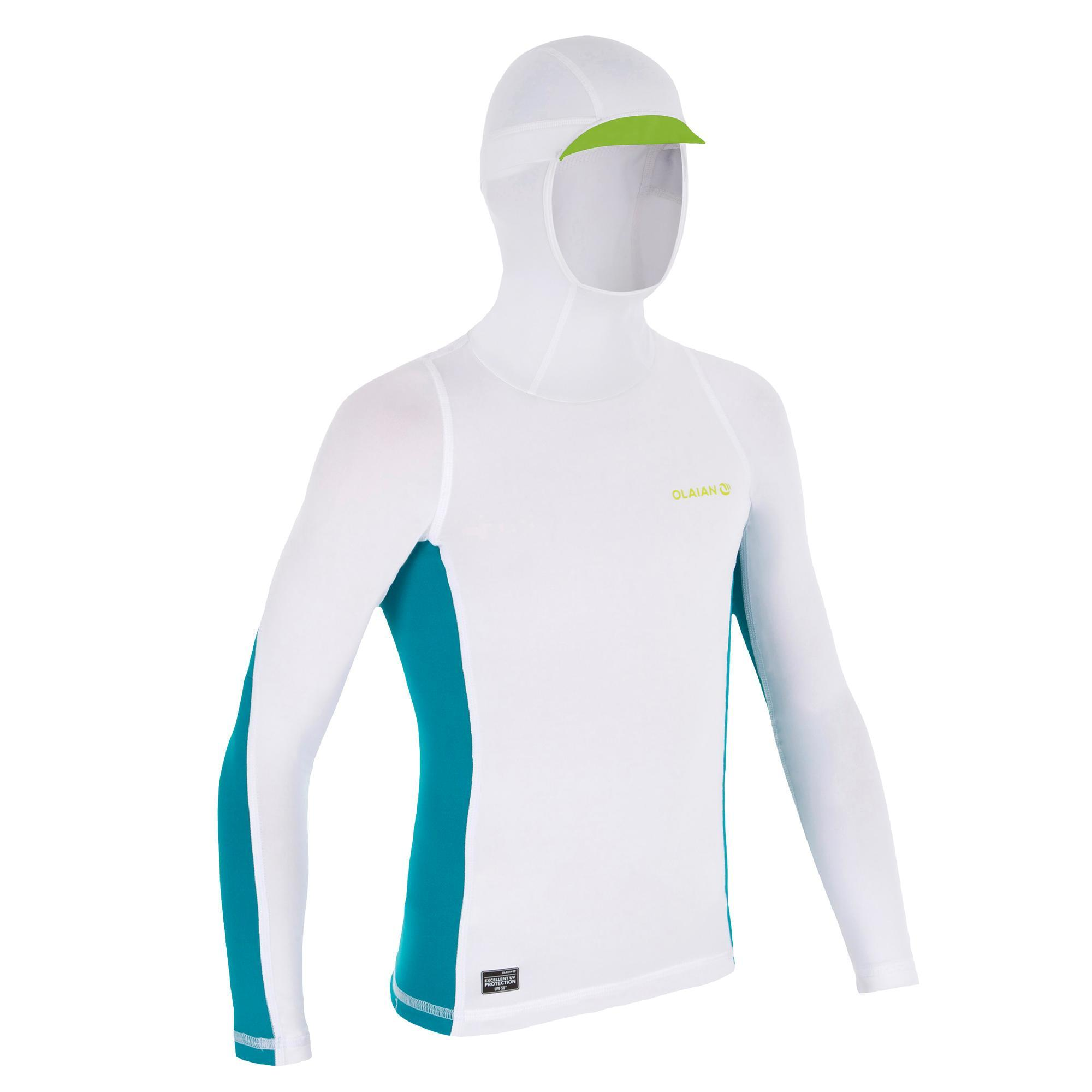4086b3146 Top Camiseta Protección Solar Playa Surf Olaian Top500 Niño Blanco Turquesa  Olaian