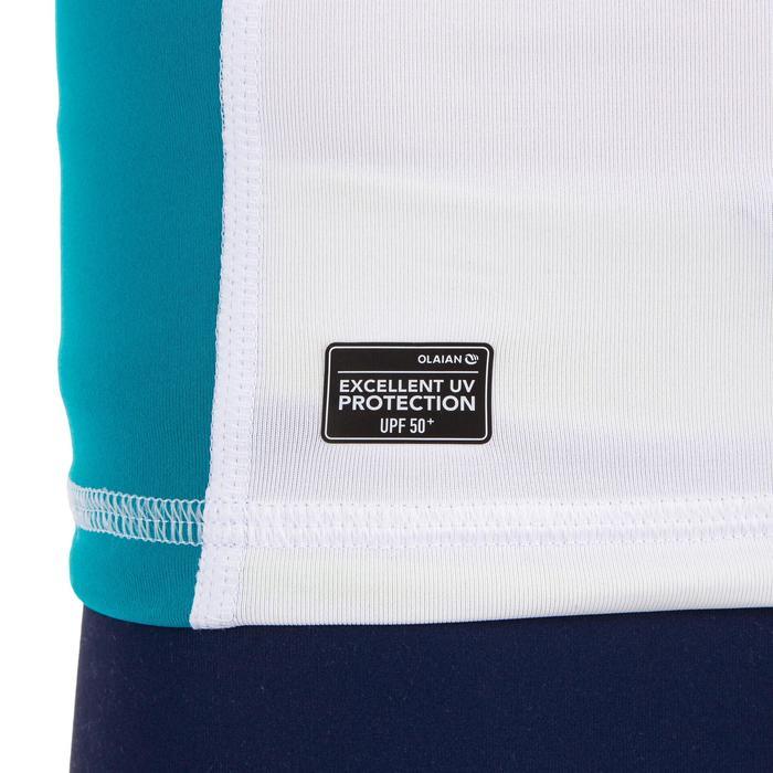 Camiseta anti-UV surf top 500 capucha niños Blanco azul turquesa