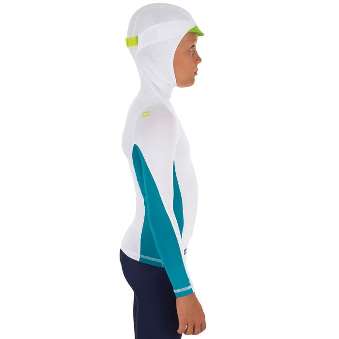 tee shirt anti uv surf top 500 capuche enfant blanc turquoise - 1297025