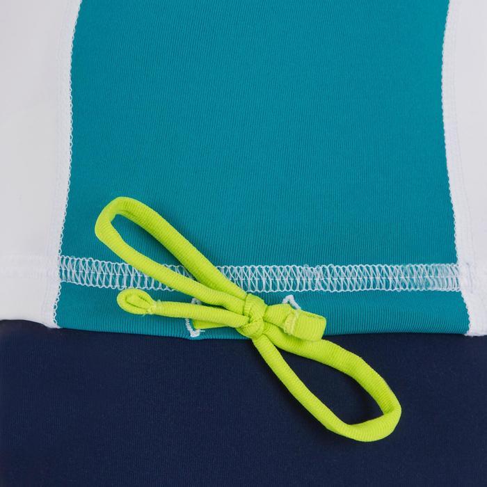 tee shirt anti uv surf top 500 capuche enfant blanc turquoise