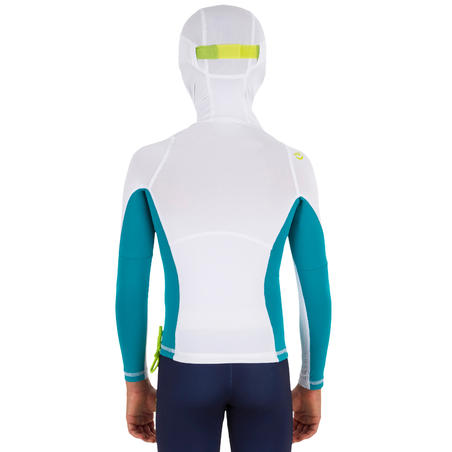 500 Child's long-sleeved UV-protection surfing T-Shirt with hood White turquoise