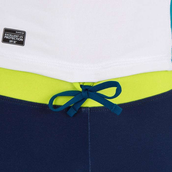 tee shirt anti uv surf top 500 capuche enfant blanc turquoise - 1297029