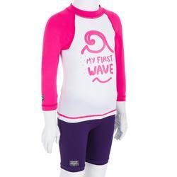 Camiseta antiUV surf top 100 manga larga bebé blanco rosa reciclado