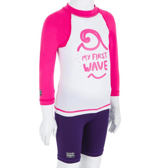 Camiseta antiUV surf top 100 manga larga bebé blanco rosa reciclado