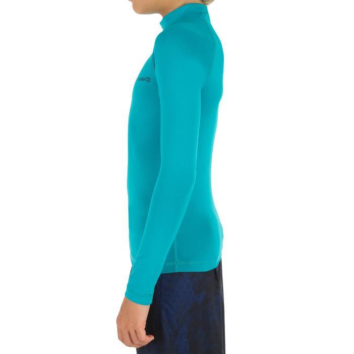 Camiseta anti-UV surf Top 100 manga corta júnior azul turquesa