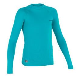 Camiseta anti-UV de surf top 100 manga corta niño turquesa