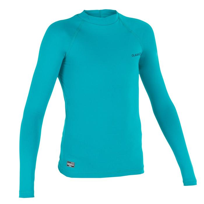 UV-Shirt langarm Surfen Top 100 Kinder türkis