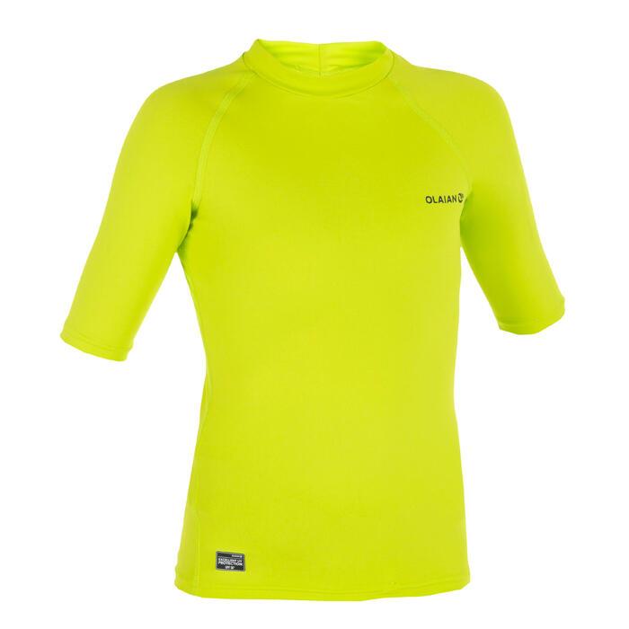 Top Camiseta Proteción Solar Playa Surf Olaian Uvtop100 Niño Varde Ácido ANTI-UV