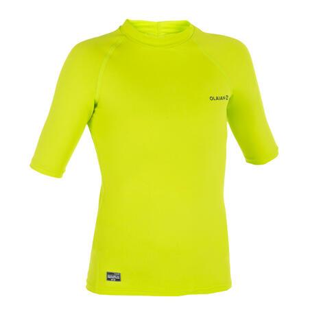 T-shirt anti-UV surf HAUT 100 manches courtes enfant vert anis