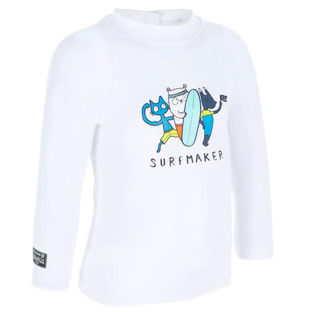 100 Baby's Long Sleeve UV Protection Surfing Top T-Shirt - White Recycled