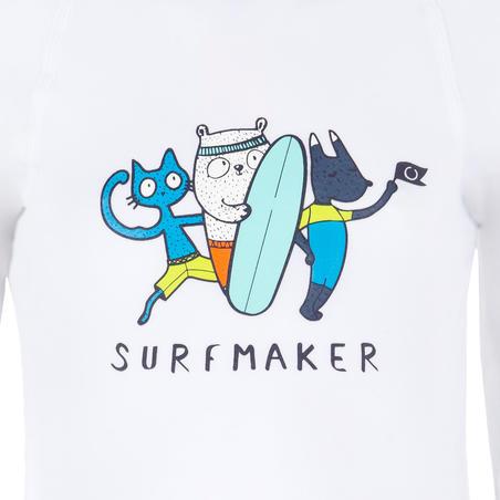 Дитяча футболка 100 для серфінгу, з довгим рукавом та з УФ-захистом - Біла