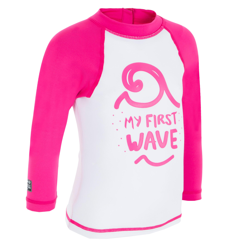 Tee shirt anti uv surf top 100 manches longues bébé blanc rose recyclé olaian