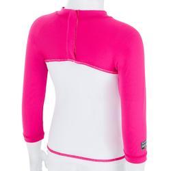 tee shirt anti UV surf top 100 manches longues bébé blanc rose recyclé