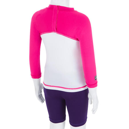 Camiseta antiUV surf top 100 manga larga bebé blanca rosada reciclado