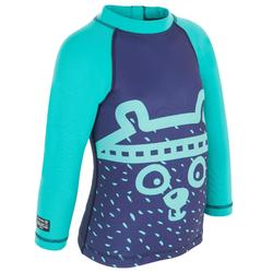 Top Camiseta Protección Solar Playa Surf Olaian Bebé Azul Marino ANTI-UV