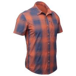 Trekkinghemd kurzarm Travel 100 Fresh Herren orange kariert