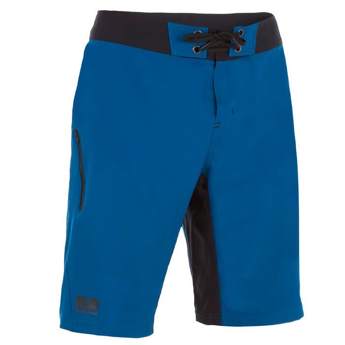Boardshort largo de surf 500 liso azul