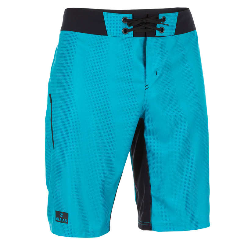 MEN'S INTERMEDIATE BOARDSHORTS Swimwear and Beachwear - 500 SBS Turquoise pixel OLAIAN - Swimwear and Beachwear