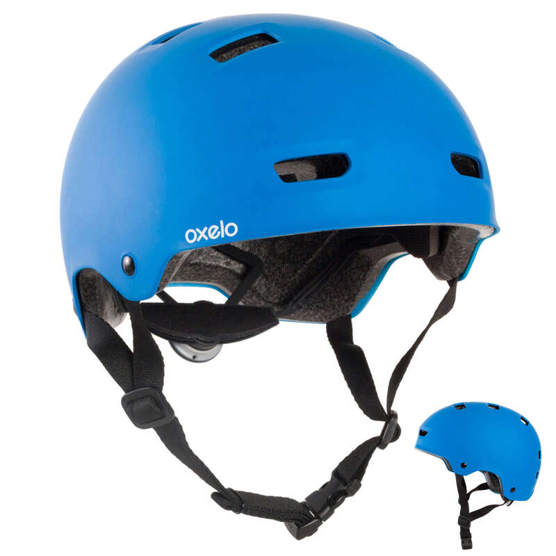 HELMET INLINE SKATE/SKATE/SCOOTER Skateboarding and Longboarding - Helmet MF500 - Blue OXELO - Skateboarding and Longboarding
