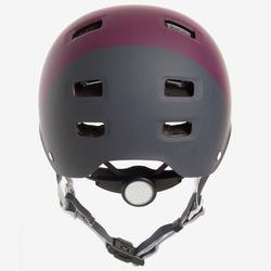 Casque patin à roues alignées, planche à roulettes, trottinette MF540 prune gris