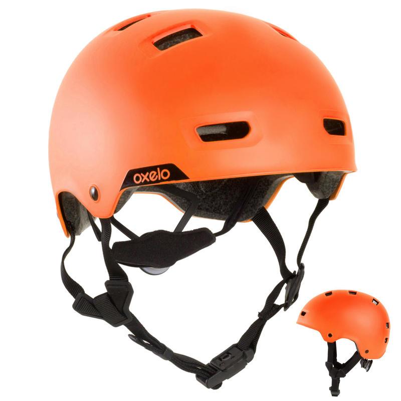 Casco para patines, patineta, patín del diablo MF540 naranja fluo