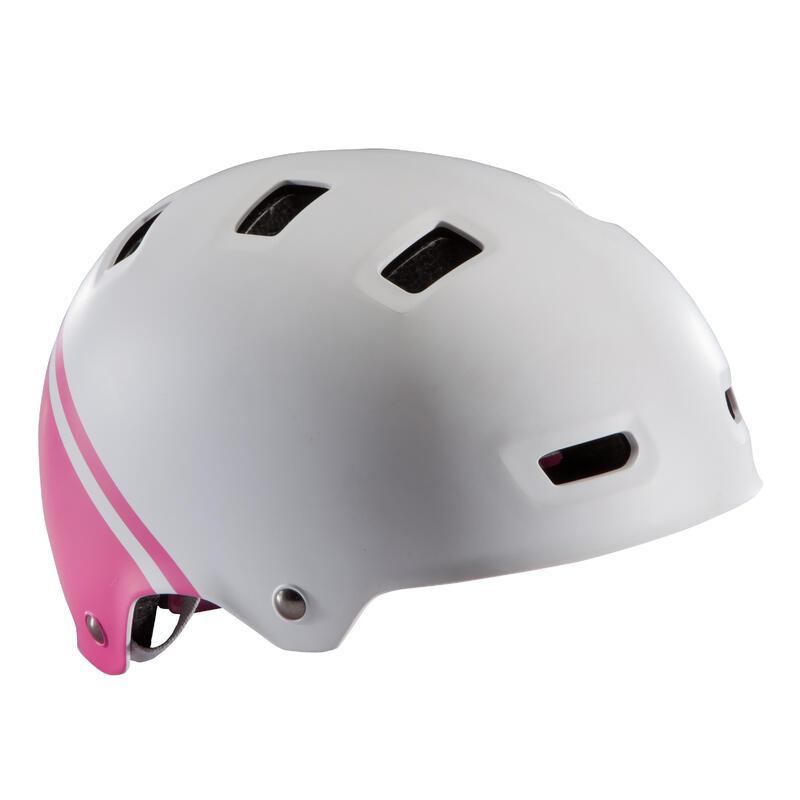 Cască Ciclism Teen 520 Roz-Alb Copii