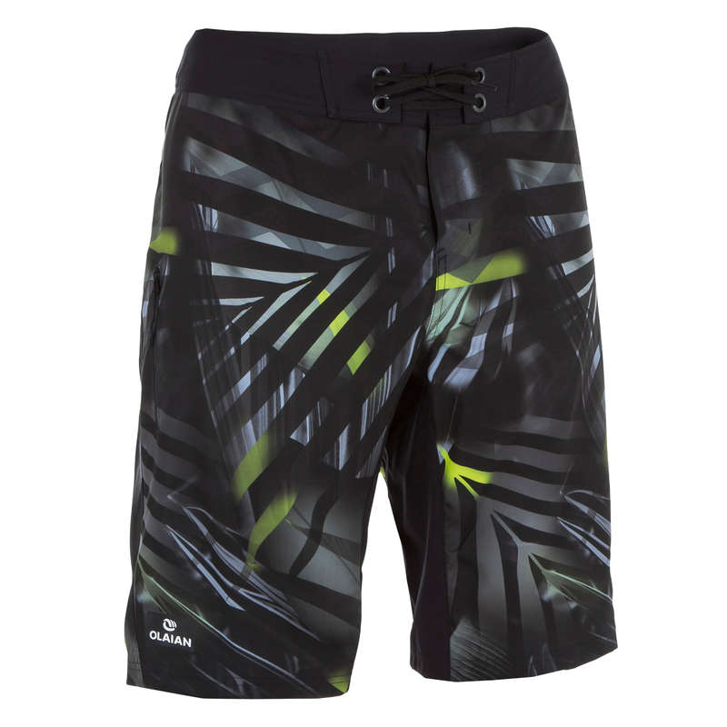 MEN'S INTERMEDIATE BOARDSHORTS Swimming - 500 SBS Jungle grey OLAIAN - Swimwear