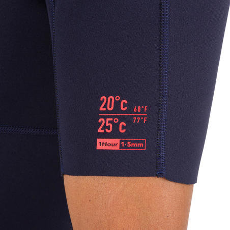 100 men's 1.5mm neoprene Shorty Surfing wetsuit - navy blue