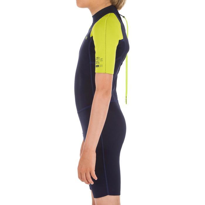 Neopreen shorty voor surfen kinderen 100 1,5 mm blauw/geel