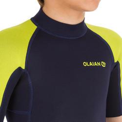 Combinaison short surf 100 néoprène 1,5mm bleu jaune  - Enfants