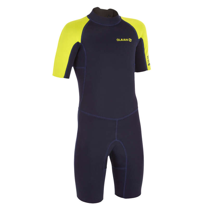 WARM WATER SPRINGSUIT Surf - Shorty SRTY100 JR- Blue/Yellow OLAIAN - Wetsuits