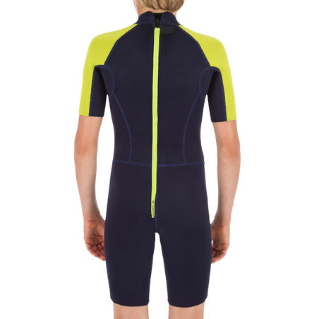 Surf Shorty 100 children's wetsuit 1.5 mm neoprene - Blue/Yellow