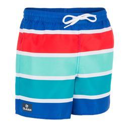 Surf zwemshort kort model 100 Kid Stripes Blue