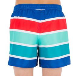 100 kid's short surfing boardshorts Blue stripes