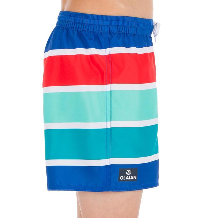 兒童款短版衝浪褲100-藍色條紋