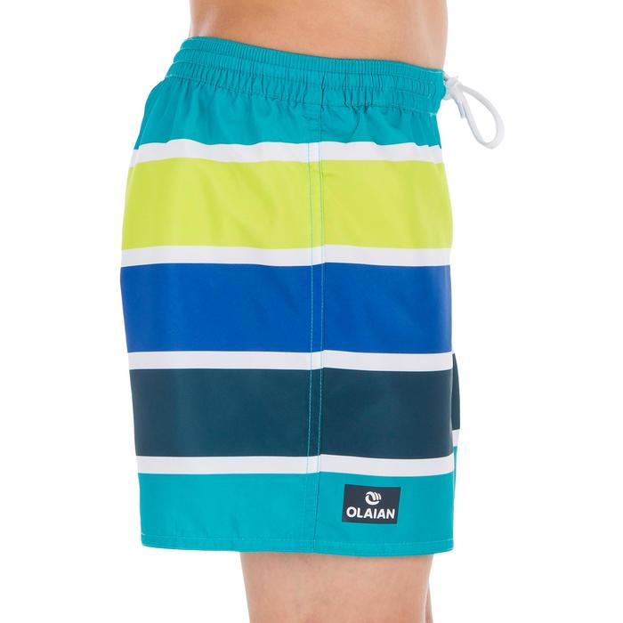Kurze Boardshorts Surfen 100 Kinder Stripes grün