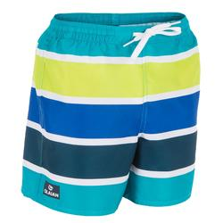 Korte surf boardshort 100 kinderen Stripes groen
