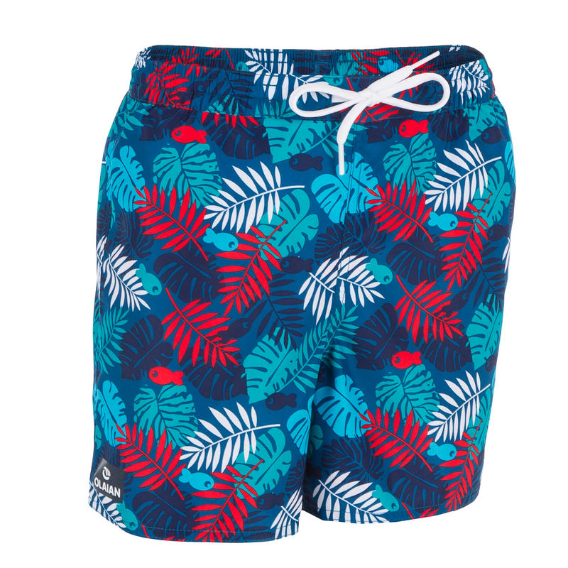 100 Kid's Short Surfing Boardshorts Jungle Red