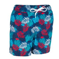 Kurze Boardshorts Surfen 100 Jungle Kinder rot/blau mit Print
