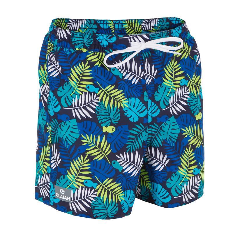 Surf short de bain court 100 Enfant Jungle Bleu