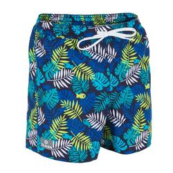 Korte boardshort 100 Kid Jungle Blue