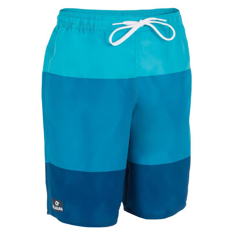 สีฟ้าสามโทนสี กางเกงชายหาดสำหรับโต้คลื่นรุ่น 100 กางเกงชายหาดสำหรับโต้คลื่นรุ่น 100 สีฟ้าสามโทนสี