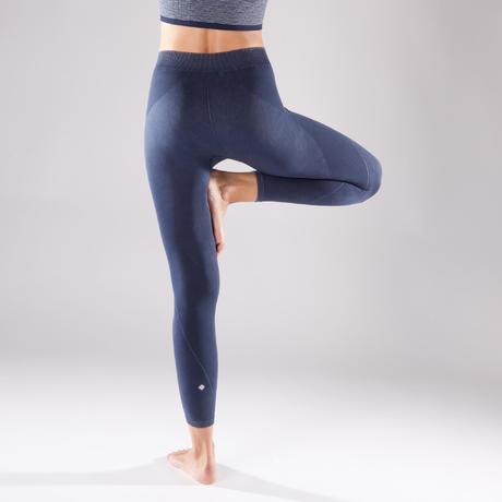 premium selection 9930e 70f00 legging yoga 500 sans couture femme bleu longueur 78 domyos by decathlon 8505444 1298105.jpg