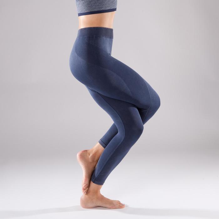 Naadloze 7/8-legging Yoga+ 500 voor dames blauw