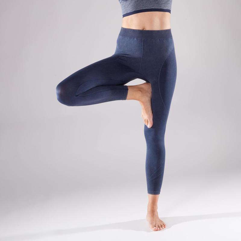 Dámské 7 8 bezešvé legíny Yoga+ 500 modré  d1d108f726