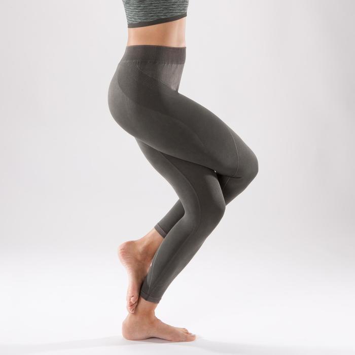 Legging YOGA sans couture femme kaki longueur 7/8